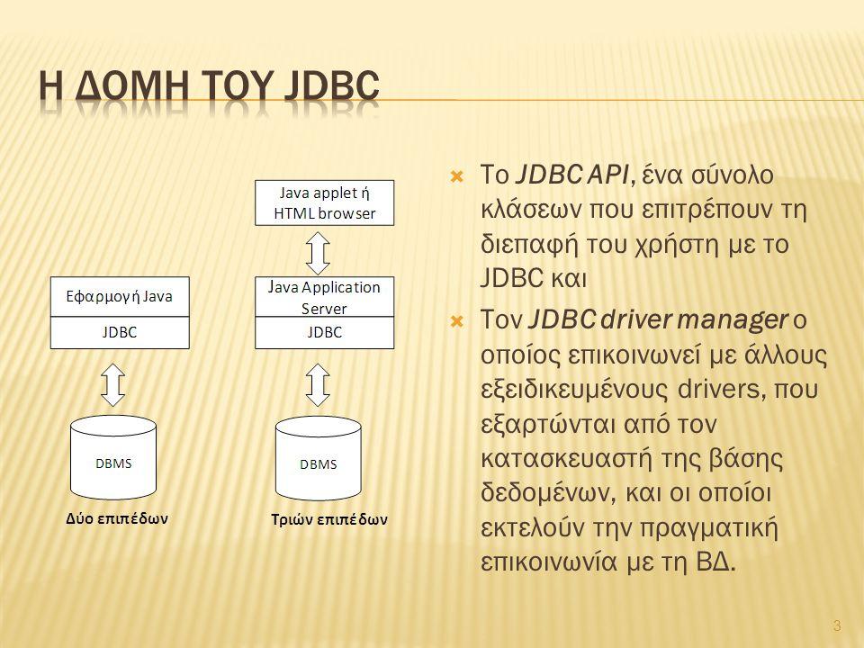  Το JDBC API, ένα σύνολο κλάσεων που επιτρέπουν τη διεπαφή του χρήστη με το JDBC και  Τον JDBC driver manager ο οποίος επικοινωνεί με άλλους εξειδικ