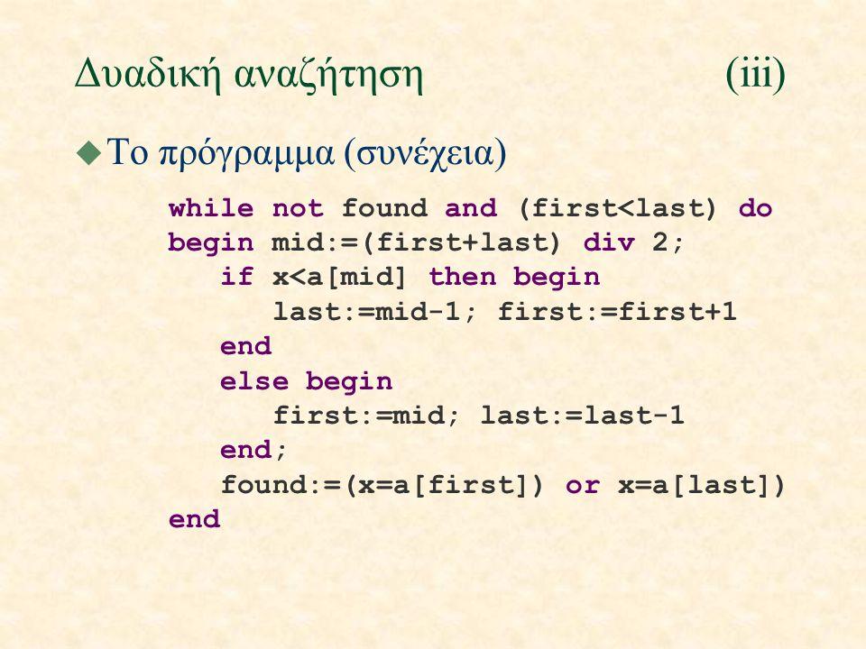 Δυαδική αναζήτηση(iii) u Το πρόγραμμα (συνέχεια) while not found and (first<last) do begin mid:=(first+last) div 2; if x<a[mid] then begin last:=mid-1; first:=first+1 end else begin first:=mid; last:=last-1 end; found:=(x=a[first]) or x=a[last]) end
