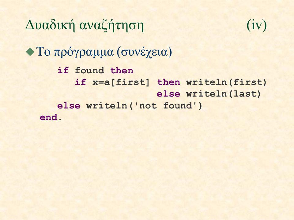 Δυαδική αναζήτηση(iv) u Το πρόγραμμα (συνέχεια) if found then if x=a[first] then writeln(first) else writeln(last) else writeln('not found') end.