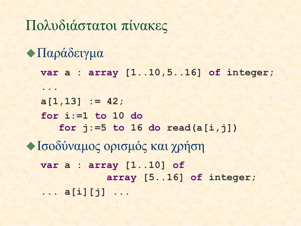 Πολυδιάστατοι πίνακες u Παράδειγμα var a : array [1..10,5..16] of integer;...