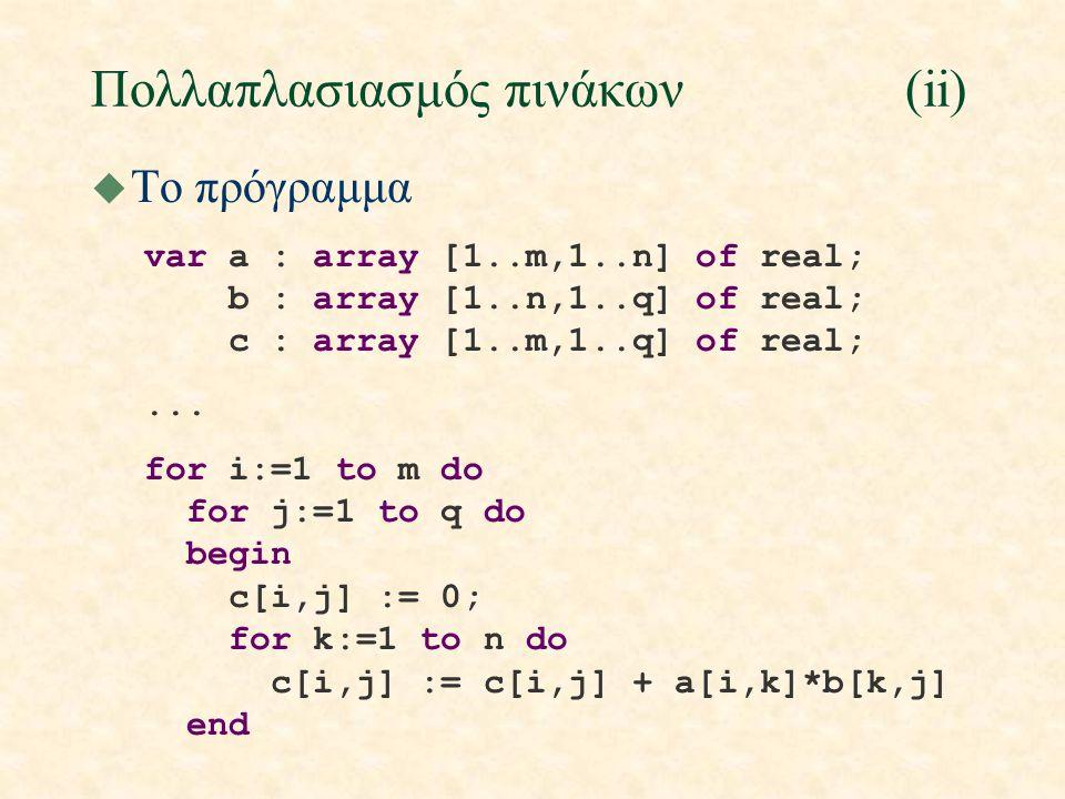 Πολλαπλασιασμός πινάκων(ii) u To πρόγραμμα var a : array [1..m,1..n] of real; b : array [1..n,1..q] of real; c : array [1..m,1..q] of real;... for i:=