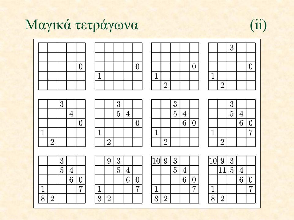 Μαγικά τετράγωνα(ii)