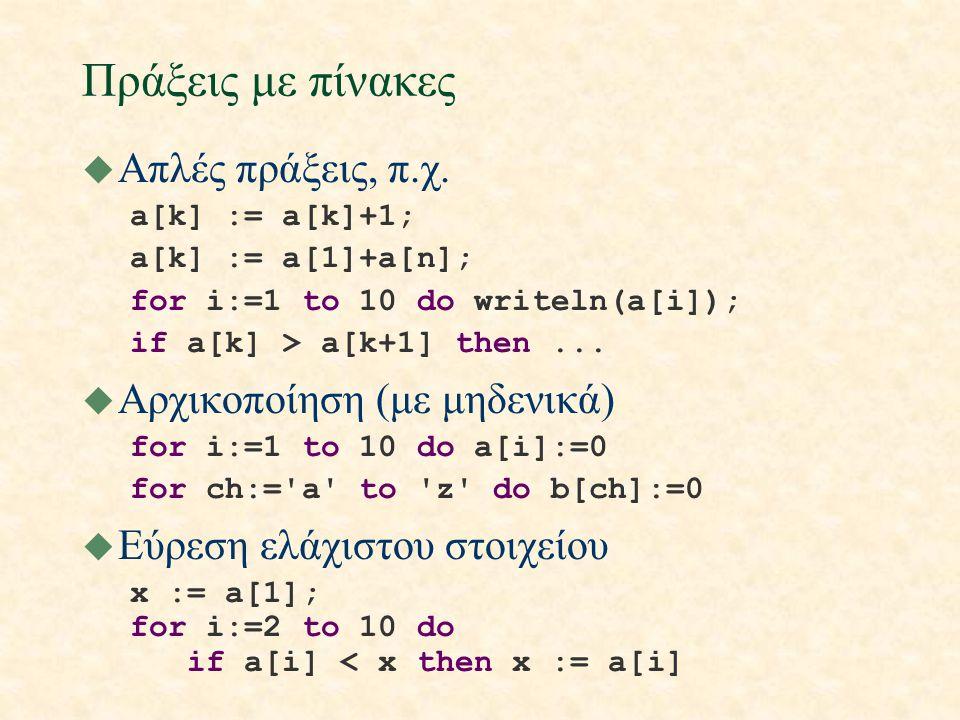 Ταξινόμηση(i) u Πρόβλημα: να αναδιαταχθούν τα στοιχεία ενός πίνακα ακεραίων σε αύξουσα σειρά u Μια από τις σημαντικότερες εφαρμογές των ηλεκτρονικών υπολογιστών u Βασική διαδικασία: εναλλαγή τιμών procedure swap(var x, y : integer); var save : integer; begin save:=x; x:=y; y:=save end