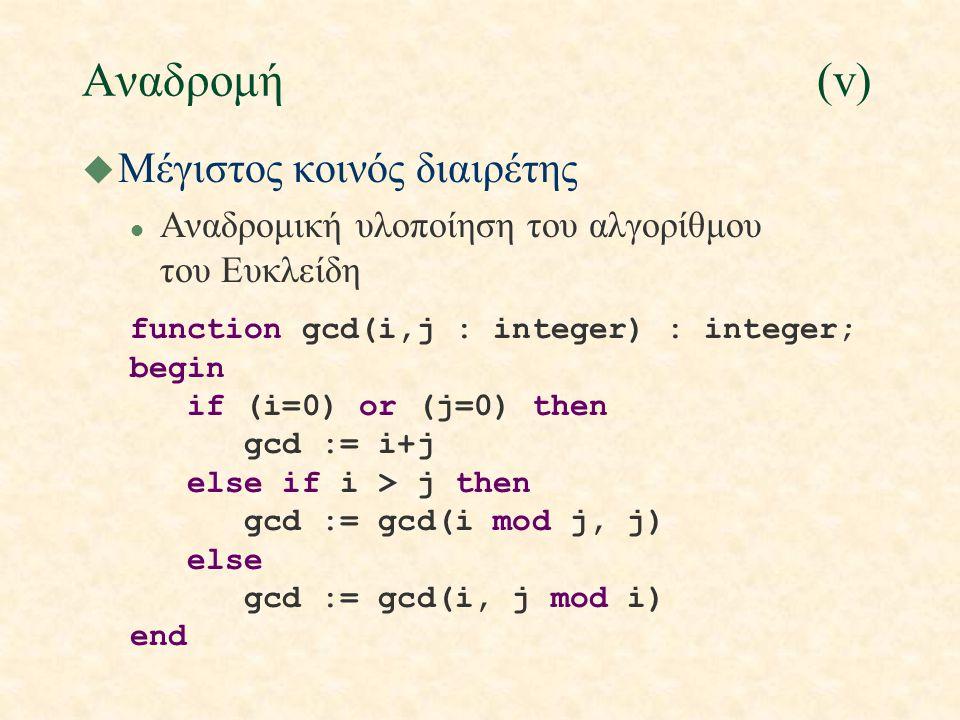 Αναδρομή(v) u Μέγιστος κοινός διαιρέτης l Αναδρομική υλοποίηση του αλγορίθμου του Ευκλείδη function gcd(i,j : integer) : integer; begin if (i=0) or (j=0) then gcd := i+j else if i > j then gcd := gcd(i mod j, j) else gcd := gcd(i, j mod i) end