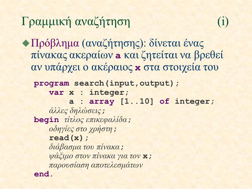 Γραμμική αναζήτηση(i)  Πρόβλημα (αναζήτησης): δίνεται ένας πίνακας ακεραίων a και ζητείται να βρεθεί αν υπάρχει ο ακέραιος x στα στοιχεία του program search(input,output); var x : integer; a : array [1..10] of integer; άλλες δηλώσεις ; begin τίτλος επικεφαλίδα ; οδηγίες στο χρήστη ; read(x); διάβασμα του πίνακα ; ψάξιμο στον πίνακα για τον x; παρουσίαση αποτελεσμάτων end.