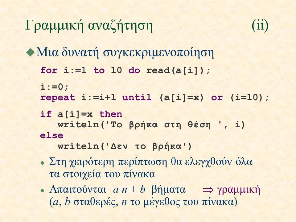 Γραμμική αναζήτηση(ii) u Μια δυνατή συγκεκριμενοποίηση for i:=1 to 10 do read(a[i]); i:=0; repeat i:=i+1 until (a[i]=x) or (i=10); if a[i]=x then writeln( To βρήκα στη θέση , i) else writeln( Δεν το βρήκα ) l Στη χειρότερη περίπτωση θα ελεγχθούν όλα τα στοιχεία του πίνακα l Απαιτούνται a n + b βήματα  γραμμική (a, b σταθερές, n το μέγεθος του πίνακα)