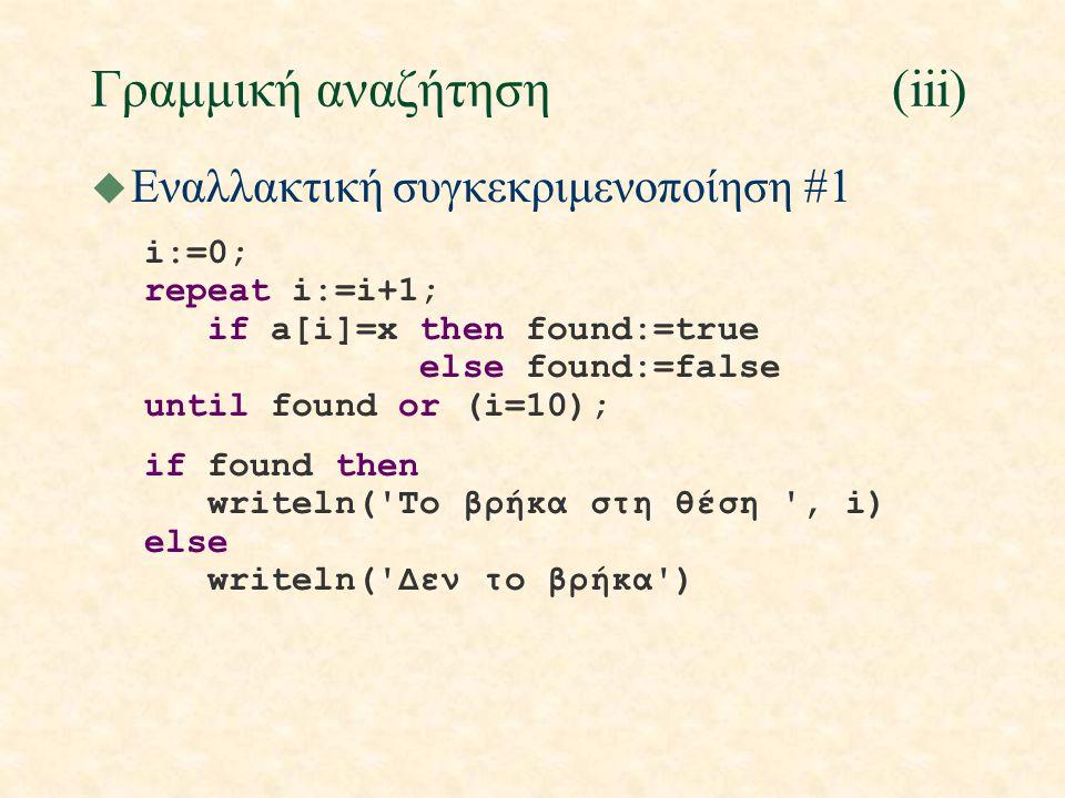 Γραφικές παραστάσεις(vii) u Παράδειγμα (συνέχεια) begin x := - bound * deltax; for i := - bound to bound do begin n := round(scale*f(x)); if abs(n)>wid then writeln ( | :shift0) else if n<0 then writeln( * :n+shift0, | :-n) else writeln( | :shift0, * :n); x := x + deltax end end.