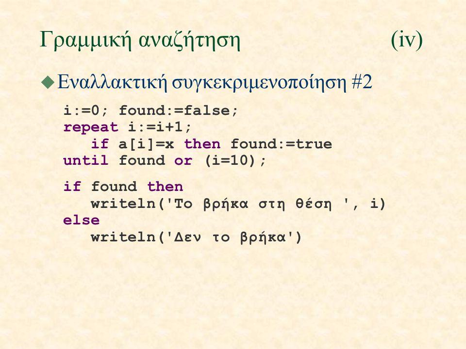 Γραμμική αναζήτηση(iv) u Εναλλακτική συγκεκριμενοποίηση #2 i:=0; found:=false; repeat i:=i+1; if a[i]=x then found:=true until found or (i=10); if found then writeln( To βρήκα στη θέση , i) else writeln( Δεν το βρήκα )