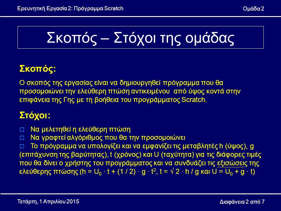 Ερευνητική Εργασία 2: Πρόγραμμα Scratch Ομάδα 2 Διαφάνεια 3 από 7 Τετάρτη, 1 Απριλίου 2015  Ο αλγόριθμος που κατασκευάσαμε βασίζεται στην θεωρία της ελεύθερης πτώσης, ενώ η αντίσταση του αέρα θεωρείται αμελητέα και χρησιμοποιεί τις έξης σχέσεις:  h = U 0 ∙ t + (1 / 2) ∙ g ∙ t 2, όπου h το ύψος – η απόσταση που διανύει το αντικείμενο που πέφτει με αρχική ταχύτητα U 0 = 0, g η επιτάχυνση της βαρύτητας σε χρόνο t  Αν η παραπάνω εξίσωση λυθεί ως προς t προκύπτει ότι t = √ 2 ∙ h / g  U = U 0 + g ∙ t, με U την τελική ταχύτητα  Αρχικοποίηση δεδομένων (ορισμός μεταβλητών, αρχικών συντεταγμένων αντικειμένου)  Υπολογισμός μεταβλητών  Προσομοίωση ελεύθερης πτώσης Μέθοδοι – Τεχνικές Αλγορίθμου