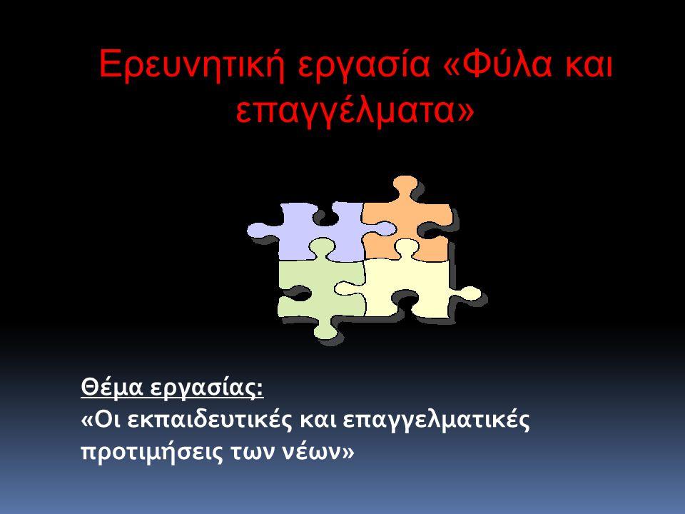 Θέμα εργασίας: «Oι εκπαιδευτικές και επαγγελματικές προτιμήσεις των νέων» Ερευνητική εργασία «Φύλα και επαγγέλματα»