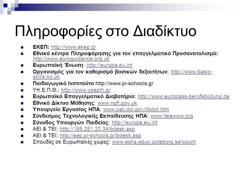 Πληροφορίες στο Διαδίκτυο ΕΚΕΠ: http://www.ekep.grhttp://www.ekep.gr Εθνικά κέντρα Πληροφόρησης για τον επαγγελματικό Προσανατολισμό: http://www.eurog