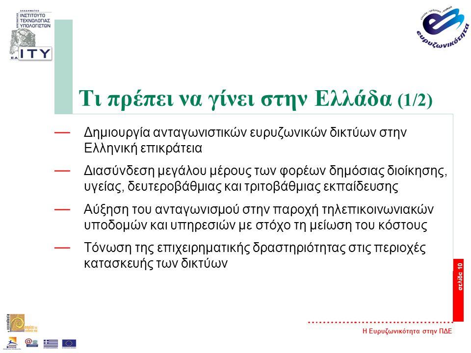 Η Ευρυζωνικότητα στην ΠΔΕ σελίδα 10 Τι πρέπει να γίνει στην Ελλάδα (1/2) — Δημιουργία ανταγωνιστικών ευρυζωνικών δικτύων στην Ελληνική επικράτεια — Διασύνδεση μεγάλου μέρους των φορέων δημόσιας διοίκησης, υγείας, δευτεροβάθμιας και τριτοβάθμιας εκπαίδευσης — Αύξηση του ανταγωνισμού στην παροχή τηλεπικοινωνιακών υποδομών και υπηρεσιών με στόχο τη μείωση του κόστους — Τόνωση της επιχειρηματικής δραστηριότητας στις περιοχές κατασκευής των δικτύων