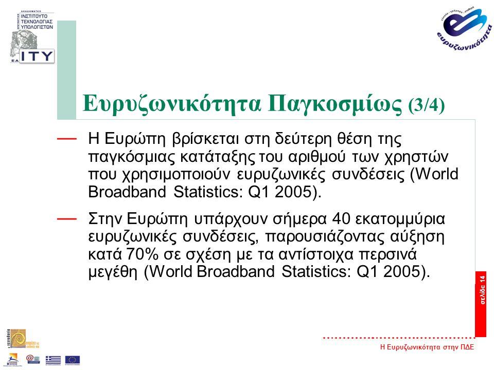 Η Ευρυζωνικότητα στην ΠΔΕ σελίδα 14 Ευρυζωνικότητα Παγκοσμίως (3/4) — Η Ευρώπη βρίσκεται στη δεύτερη θέση της παγκόσμιας κατάταξης του αριθμού των χρηστών που χρησιμοποιούν ευρυζωνικές συνδέσεις (World Broadband Statistics: Q1 2005).