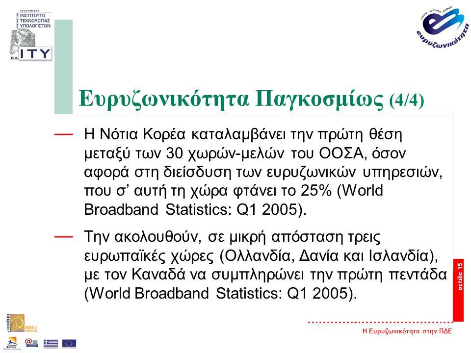 Η Ευρυζωνικότητα στην ΠΔΕ σελίδα 15 Ευρυζωνικότητα Παγκοσμίως (4/4) — Η Νότια Κορέα καταλαμβάνει την πρώτη θέση μεταξύ των 30 χωρών-μελών του ΟΟΣΑ, όσον αφορά στη διείσδυση των ευρυζωνικών υπηρεσιών, που σ' αυτή τη χώρα φτάνει το 25% (World Broadband Statistics: Q1 2005).