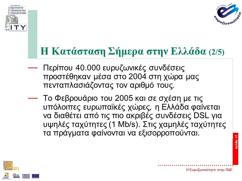 Η Ευρυζωνικότητα στην ΠΔΕ σελίδα 17 Η Κατάσταση Σήμερα στην Ελλάδα (2/5) — Περίπου 40.000 ευρυζωνικές συνδέσεις προστέθηκαν μέσα στο 2004 στη χώρα μας πενταπλασιάζοντας τον αριθμό τους.