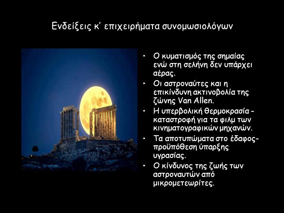 Ενδείξεις κ' επιχειρήματα συνομωσιολόγων Ο κυματισμός της σημαίας ενώ στη σελήνη δεν υπάρχει αέρας. Οι αστροναύτες και η επικίνδυνη ακτινοβολία της ζώ