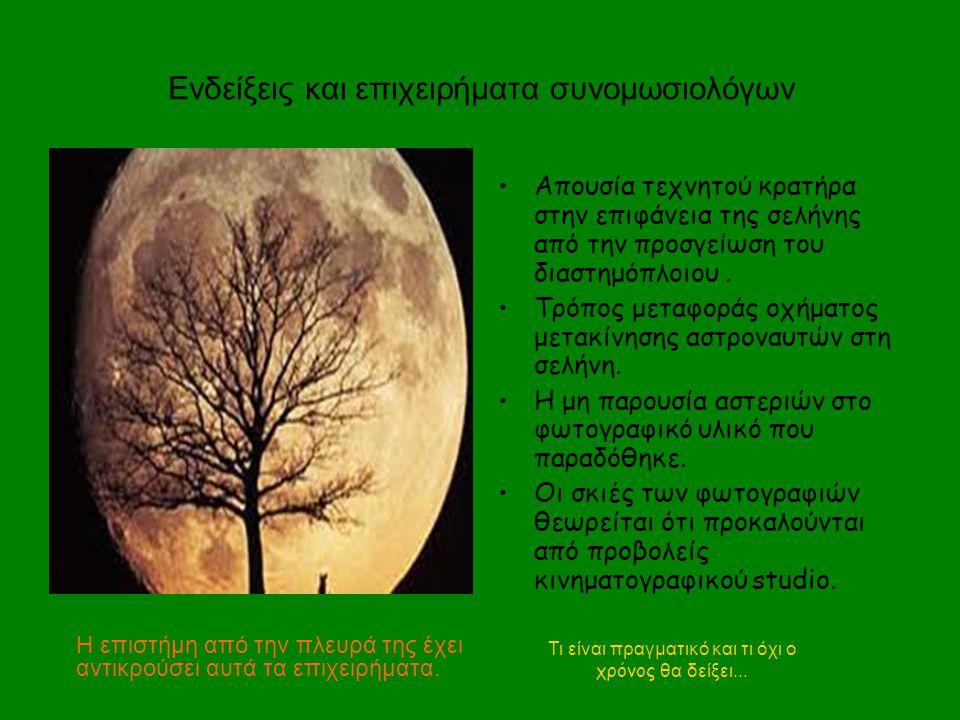 Τι είναι πραγματικό και τι όχι ο χρόνος θα δείξει... Απουσία τεχνητού κρατήρα στην επιφάνεια της σελήνης από την προσγείωση του διαστημόπλοιου. Τρόπος