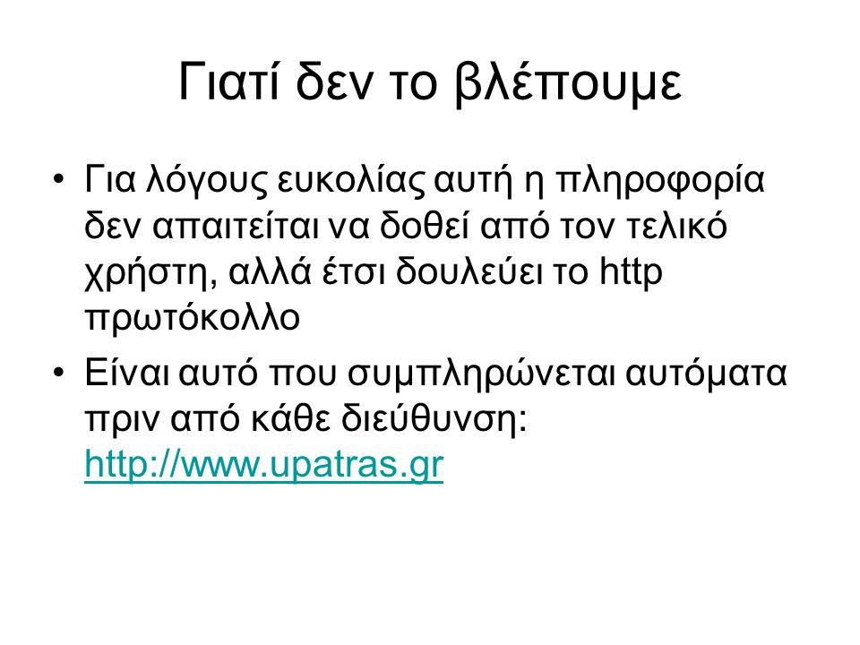 Γιατί δεν το βλέπουμε Για λόγους ευκολίας αυτή η πληροφορία δεν απαιτείται να δοθεί από τον τελικό χρήστη, αλλά έτσι δουλεύει το http πρωτόκολλο Είναι αυτό που συμπληρώνεται αυτόματα πριν από κάθε διεύθυνση: http://www.upatras.gr http://www.upatras.gr