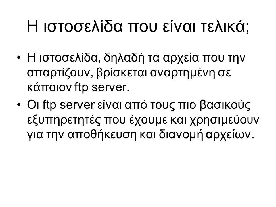 Η ιστοσελίδα που είναι τελικά; Η ιστοσελίδα, δηλαδή τα αρχεία που την απαρτίζουν, βρίσκεται αναρτημένη σε κάποιον ftp server.