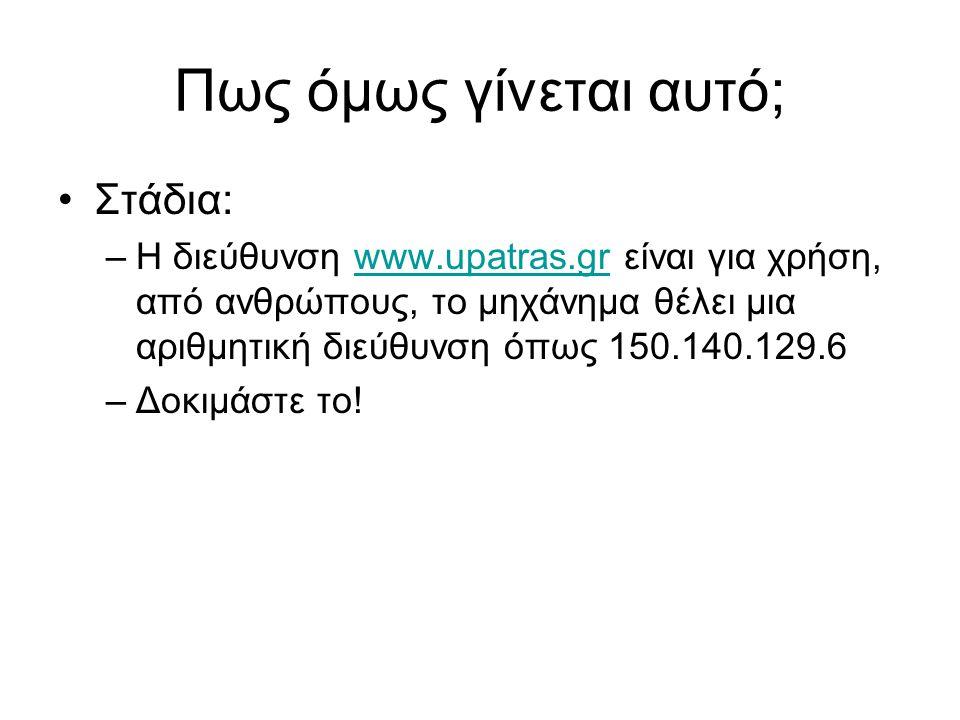 Πως όμως γίνεται αυτό; Στάδια: –Η διεύθυνση www.upatras.gr είναι για χρήση, από ανθρώπους, το μηχάνημα θέλει μια αριθμητική διεύθυνση όπως 150.140.129.6www.upatras.gr –Δοκιμάστε το!