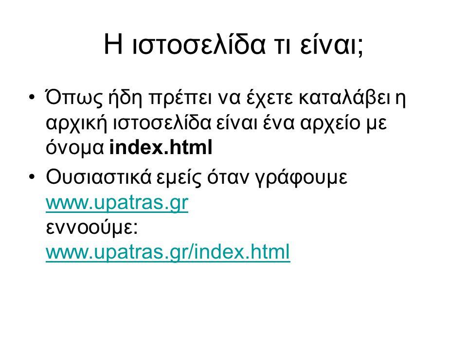 Η ιστοσελίδα τι είναι; Όπως ήδη πρέπει να έχετε καταλάβει η αρχική ιστοσελίδα είναι ένα αρχείο με όνομα index.html Ουσιαστικά εμείς όταν γράφουμε www.upatras.gr εννοούμε: www.upatras.gr/index.html www.upatras.gr www.upatras.gr/index.html
