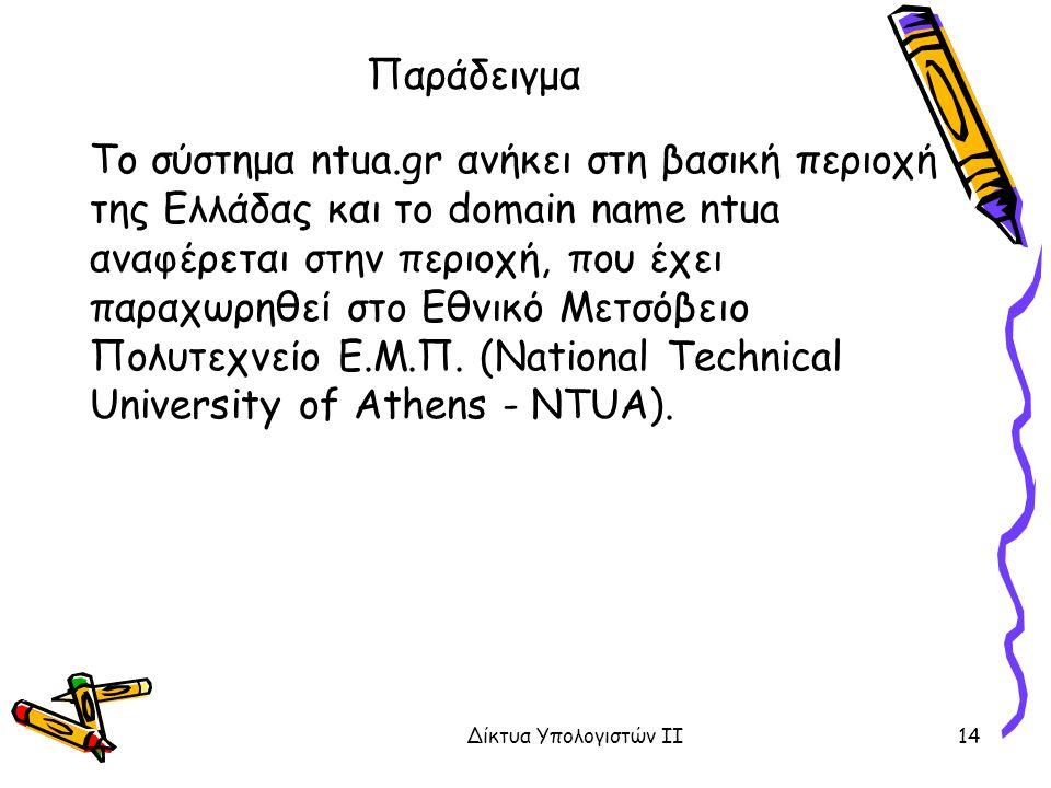 Παράδειγμα Το σύστημα ntua.gr ανήκει στη βασική περιοχή της Ελλάδας και το domain name ntua αναφέρεται στην περιοχή, που έχει παραχωρηθεί στο Εθνικό Μετσόβειο Πολυτεχνείο Ε.Μ.Π.