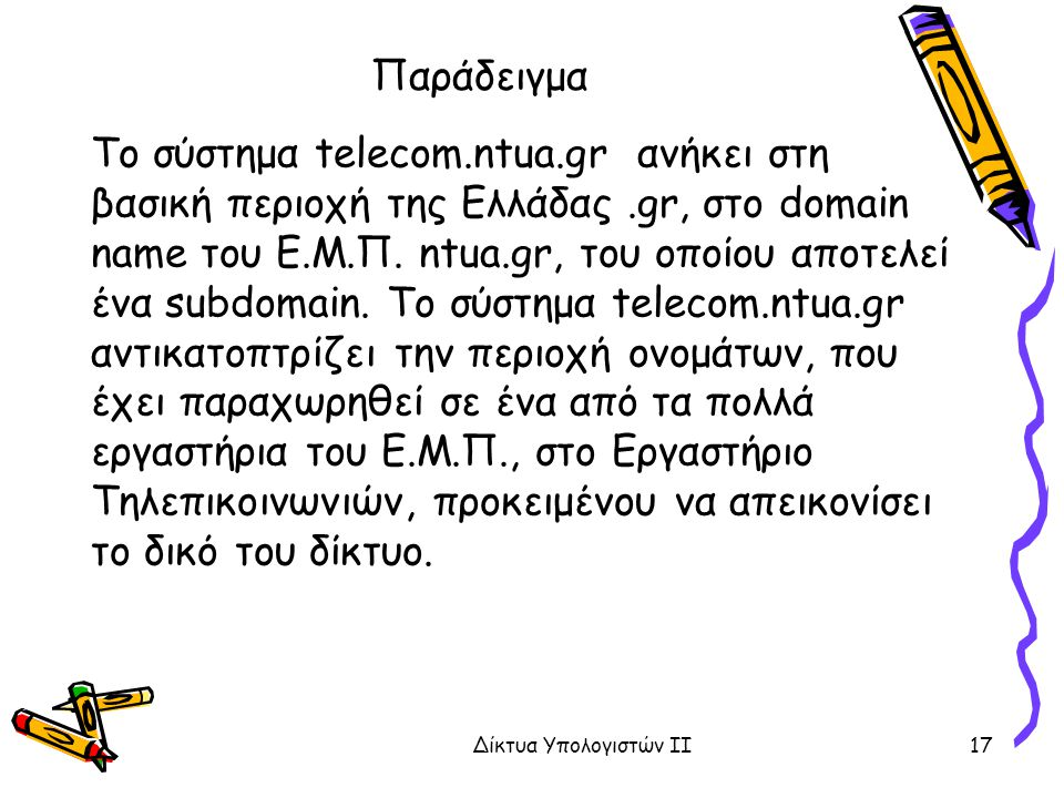 Παράδειγμα Το σύστημα telecom.ntua.gr ανήκει στη βασική περιοχή της Ελλάδας.gr, στο domain name του Ε.Μ.Π. ntua.gr, του οποίου αποτελεί ένα subdomain.