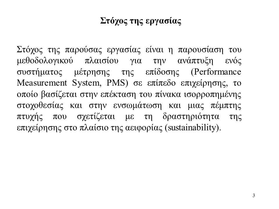 3 Στόχος της παρούσας εργασίας είναι η παρουσίαση του μεθοδολογικού πλαισίου για την ανάπτυξη ενός συστήματος μέτρησης της επίδοσης (Performance Measu
