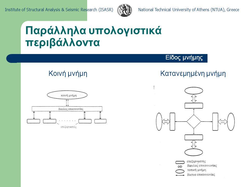 National Technical University of Athens (NTUA), GreeceInstitute of Structural Analysis & Seismic Research (ISASR) Παράλληλα υπολογιστικά περιβάλλοντα Ροή διεργασιών και δεδομένων SISD (Single Instruction – Single Data) SIMD (Single Instruction – Multiple Data) MISD (Multiple Instruction – Single Data) MIMD (Multiple Instruction – Multiple Data) Επικρατέστερες οι SIMD και MIMD