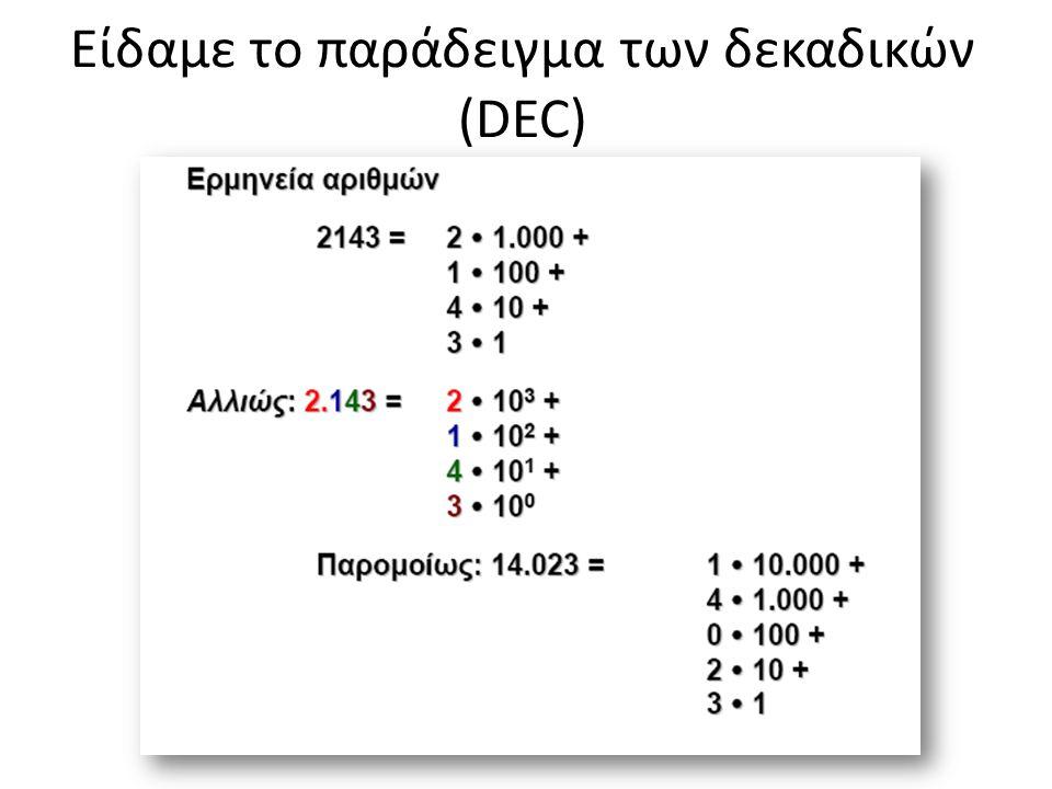 Είδαμε το παράδειγμα των δεκαδικών (DEC)