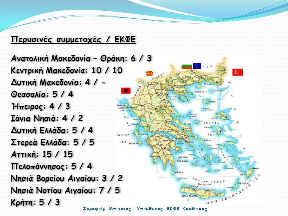 Περυσινές συμμετοχές / ΕΚΦΕ Ανατολική Μακεδονία – Θράκη: 6 / 3 Κεντρική Μακεδονία: 10 / 10 Δυτική Μακεδονία: 4 / - Θεσσαλία: 5 / 4 Ήπειρος: 4 / 3 Ιόνια Νησιά: 4 / 2 Δυτική Ελλάδα: 5 / 4 Στερεά Ελλάδα: 5 / 5 Αττική: 15 / 15 Πελοπόννησος: 5 / 4 Νησιά Βορείου Αιγαίου: 3 / 2 Νησιά Νοτίου Αιγαίου: 7 / 5 Κρήτη: 5 / 3 Περυσινές συμμετοχές / ΕΚΦΕ Ανατολική Μακεδονία – Θράκη: 6 / 3 Κεντρική Μακεδονία: 10 / 10 Δυτική Μακεδονία: 4 / - Θεσσαλία: 5 / 4 Ήπειρος: 4 / 3 Ιόνια Νησιά: 4 / 2 Δυτική Ελλάδα: 5 / 4 Στερεά Ελλάδα: 5 / 5 Αττική: 15 / 15 Πελοπόννησος: 5 / 4 Νησιά Βορείου Αιγαίου: 3 / 2 Νησιά Νοτίου Αιγαίου: 7 / 5 Κρήτη: 5 / 3 Σεραφείμ Μπίτσιος, Υπεύθυνος ΕΚΦΕ Καρδίτσας