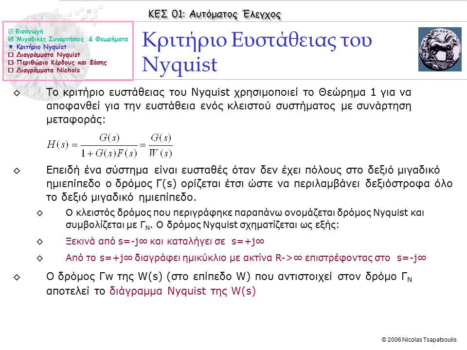 ΚΕΣ 01: Αυτόματος Έλεγχος © 2006 Nicolas Tsapatsoulis Κριτήριο Ευστάθειας του Nyquist ◊Το κριτήριο ευστάθειας του Nyquist χρησιμοποιεί το Θεώρημα 1 για να αποφανθεί για την ευστάθεια ενός κλειστού συστήματος με συνάρτηση μεταφοράς: ◊Επειδή ένα σύστημα είναι ευσταθές όταν δεν έχει πόλους στο δεξιό μιγαδικό ημιεπίπεδο ο δρόμος Γ(s) ορίζεται έτσι ώστε να περιλαμβάνει δεξιόστροφα όλο το δεξιό μιγαδικό ημιεπίπεδο.