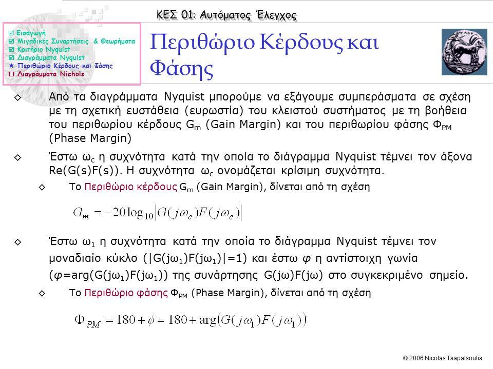ΚΕΣ 01: Αυτόματος Έλεγχος © 2006 Nicolas Tsapatsoulis Περιθώριο Κέρδους και Φάσης ◊Από τα διαγράμματα Nyquist μπορούμε να εξάγουμε συμπεράσματα σε σχέση με τη σχετική ευστάθεια (ευρωστία) του κλειστού συστήματος με τη βοήθεια του περιθωρίου κέρδους G m (Gain Margin) και του περιθωρίου φάσης Φ PM (Phase Margin) ◊Έστω ω c η συχνότητα κατά την οποία το διάγραμμα Nyquist τέμνει τον άξονα Re(G(s)F(s)).