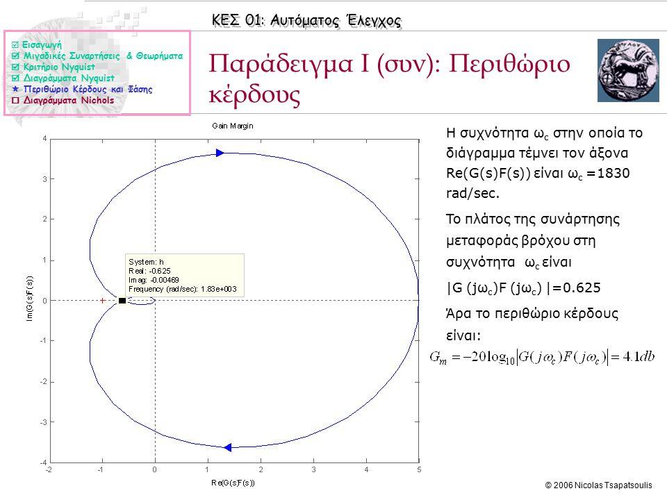ΚΕΣ 01: Αυτόματος Έλεγχος © 2006 Nicolas Tsapatsoulis Παράδειγμα Ι (συν): Περιθώριο κέρδους ◊Η συχνότητα ω c στην οποία το διάγραμμα τέμνει τον άξονα Re(G(s)F(s)) είναι ω c =1830 rad/sec.