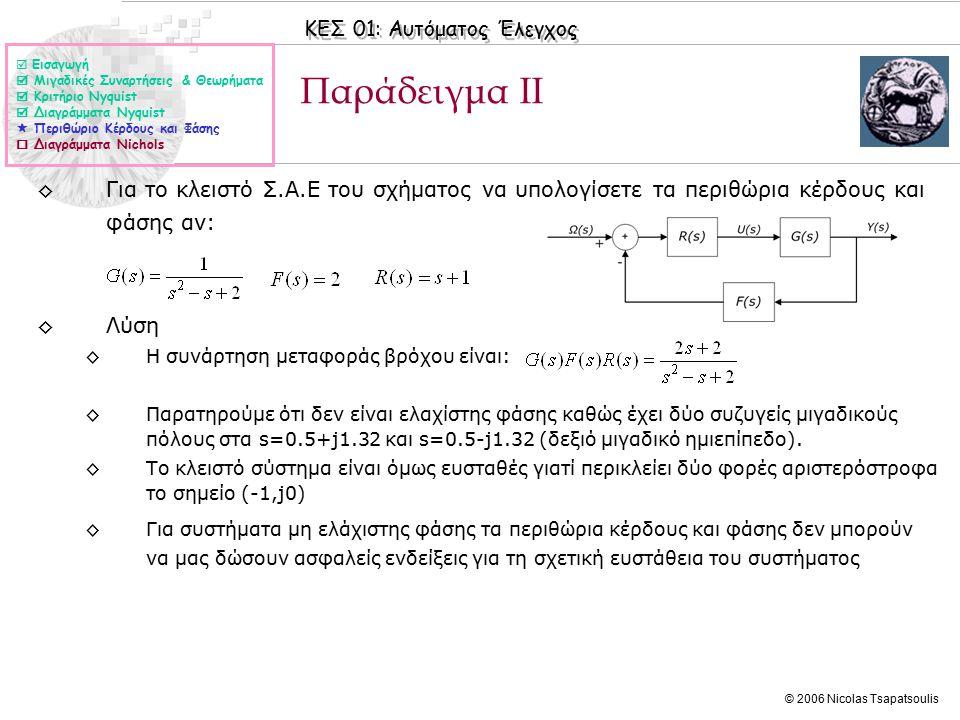 ΚΕΣ 01: Αυτόματος Έλεγχος © 2006 Nicolas Tsapatsoulis ◊Για το κλειστό Σ.Α.Ε του σχήματος να υπολογίσετε τα περιθώρια κέρδους και φάσης αν: ◊Λύση ◊Η συνάρτηση μεταφοράς βρόχου είναι: ◊Παρατηρούμε ότι δεν είναι ελαχίστης φάσης καθώς έχει δύο συζυγείς μιγαδικούς πόλους στα s=0.5+j1.32 και s=0.5-j1.32 (δεξιό μιγαδικό ημιεπίπεδο).