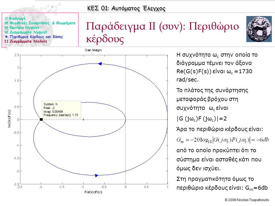 ΚΕΣ 01: Αυτόματος Έλεγχος © 2006 Nicolas Tsapatsoulis Παράδειγμα ΙΙ (συν): Περιθώριο κέρδους ◊Η συχνότητα ω c στην οποία το διάγραμμα τέμνει τον άξονα Re(G(s)F(s)) είναι ω c =1730 rad/sec.