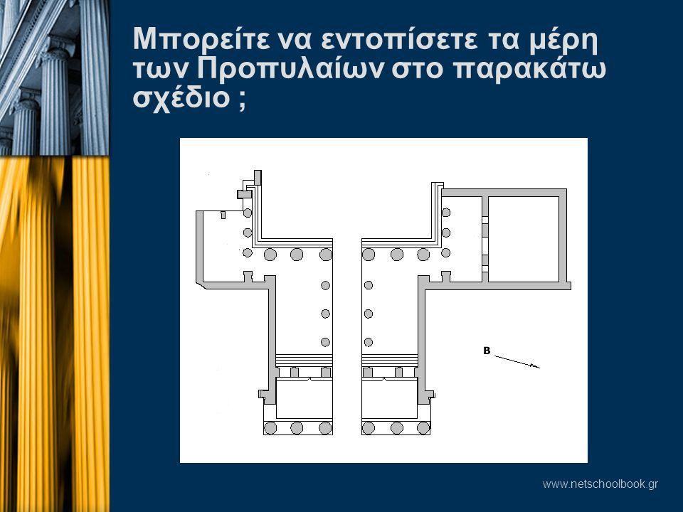www.netschoolbook.gr Μπορείτε να εντοπίσετε τα μέρη των Προπυλαίων στο παρακάτω σχέδιο ;