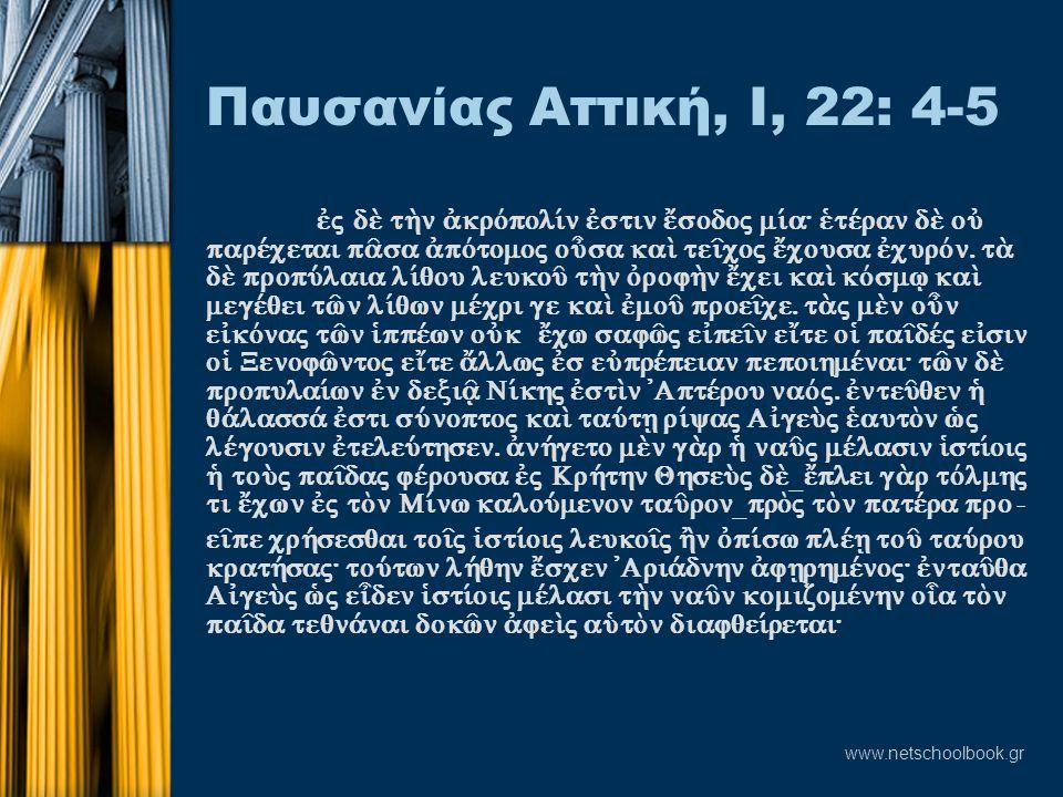 www.netschoolbook.gr Παυσανίας Αττική, Ι, 22: 4-5 ™j d t¾n ¢krÒpol…n ™stin œsodoj m…a: ˜tšran d oÙ paršcetai p©sa ¢pÒtomoj oâsa kaˆ te‹coj œcousa ™c