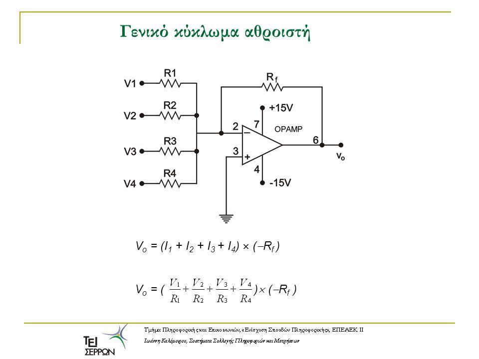 Γενικό κύκλωμα αθροιστή V o = (I 1 + I 2 + I 3 + I 4 )  (  R f ) V o = ( )  (  R f )