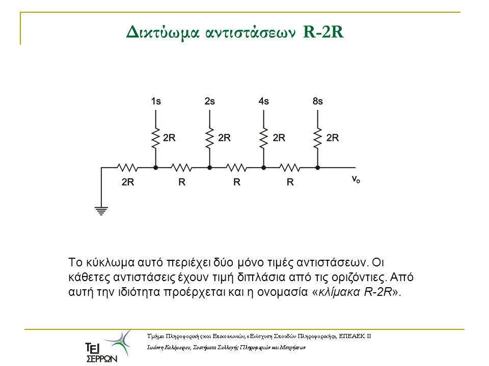Δικτύωμα αντιστάσεων R-2R Tο κύκλωμα αυτό περιέχει δύο μόνο τιμές αντιστάσεων. Οι κάθετες αντιστάσεις έχουν τιμή διπλάσια από τις οριζόντιες. Από αυτή
