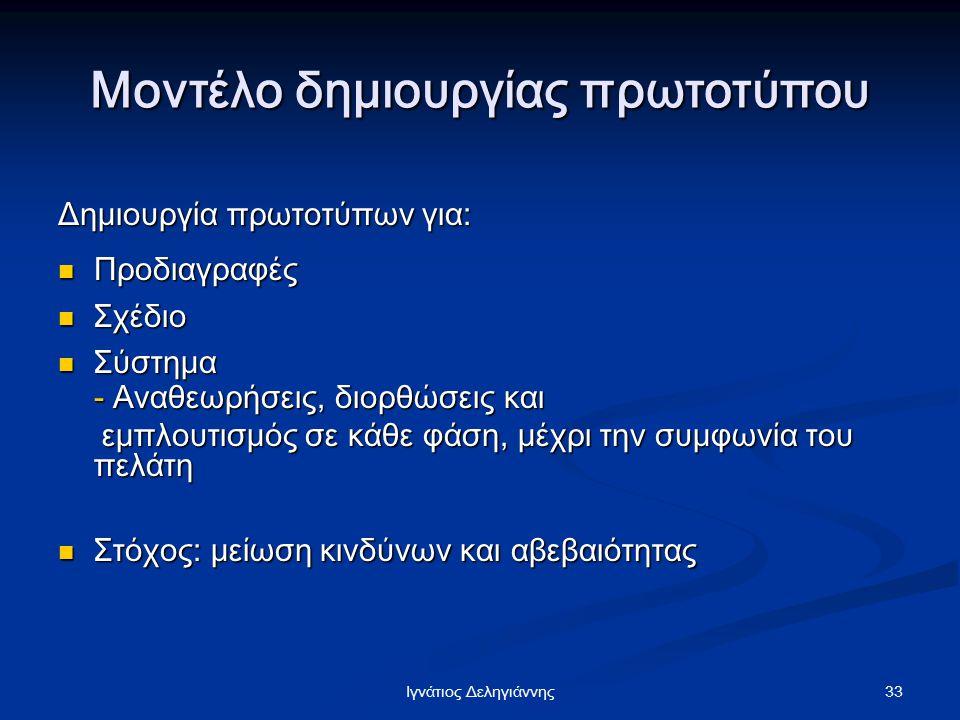 33Iγνάτιος Δεληγιάννης Μοντέλο δημιουργίας πρωτοτύπου Δημιουργία πρωτοτύπων για: Προδιαγραφές Προδιαγραφές Σχέδιο Σχέδιο Σύστημα Σύστημα - Αναθεωρήσει