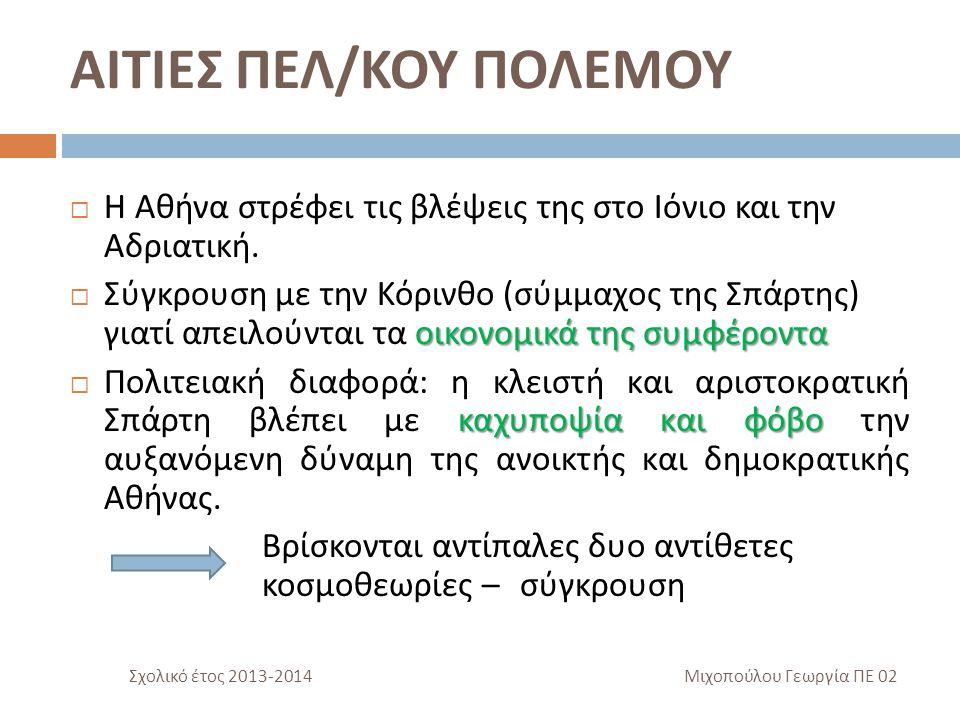 ΑΦΟΡΜΕΣ ΠΕΛ / ΚΟΥ ΠΟΛΕΜΟΥ Αφορμή = δικαιολογία, πρόφαση για να κάνω αυτό που πραγματικά θέλω  Η ανάμειξη των Αθηναίων στην διαμάχη ανάμεση στην Κέρκυρα και στην Κόρινθο για την Επίδαμνο.
