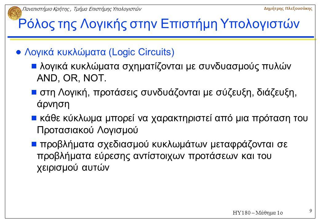 9 Πανεπιστήμιο Κρήτης, Τμήμα Επιστήμης Υπολογιστών Δημήτρης Πλεξουσάκης ΗΥ180 – Μάθημα 1ο Ρόλος της Λογικής στην Επιστήμη Υπολογιστών Λογικά κυκλώματα (Logic Circuits)  λογικά κυκλώματα σχηματίζονται με συνδυασμούς πυλών AND, OR, NOT.