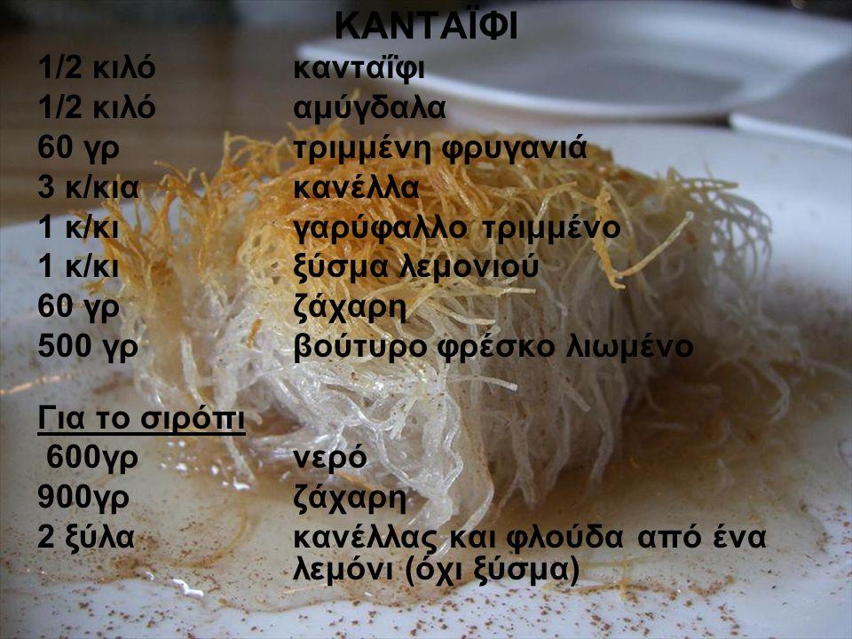 ΚΑΝΤΑΪΦΙ 1/2 κιλό κανταΐφι 1/2 κιλό αμύγδαλα 60 γρ τριμμένη φρυγανιά 3 κ/κια κανέλλα 1 κ/κι γαρύφαλλο τριμμένο 1 κ/κι ξύσμα λεμονιού 60 γρζάχαρη 500 γρβούτυρο φρέσκο λιωμένο Για το σιρόπι 600γρ νερό 900γρ ζάχαρη 2 ξύλα κανέλλας και φλούδα από ένα λεμόνι (όχι ξύσμα)