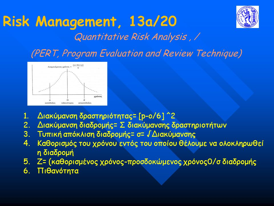 Risk Management, 13a/20 Quantitative Risk Analysis, / (PERT, Program Evaluation and Review Technique) 1.Διακύμανση δραστηριότητας= [p-o/6] ^2 2.Διακύμ