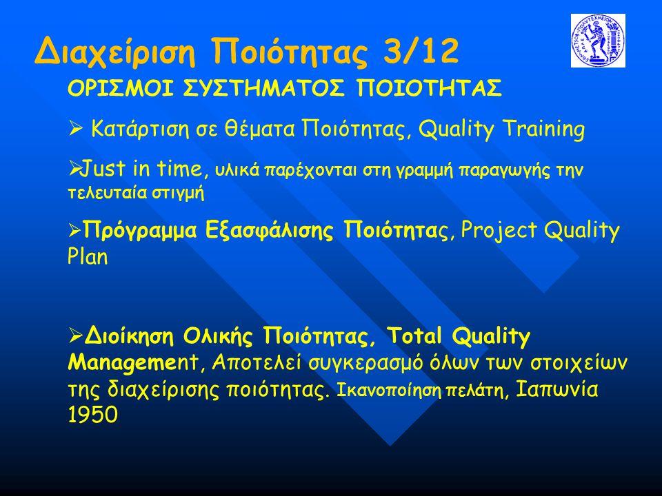 Διαχείριση Ποιότητας 3/12 ΟΡΙΣΜΟΙ ΣΥΣΤΗΜΑΤΟΣ ΠΟΙΟΤΗΤΑΣ  Κατάρτιση σε θέματα Ποιότητας, Quality Training  Just in time, υλικά παρέχονται στη γραμμή παραγωγής την τελευταία στιγμή  Πρόγραμμα Εξασφάλισης Ποιότητας, Project Quality Plan  Διοίκηση Ολικής Ποιότητας, Total Quality Management, Αποτελεί συγκερασμό όλων των στοιχείων της διαχείρισης ποιότητας.
