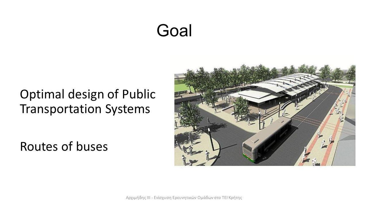 Goal Optimal design of Public Transportation Systems Routes of buses Αρχιμήδης ΙΙΙ - Ενίσχυση Ερευνητικών Ομάδων στο ΤΕΙ Κρήτης