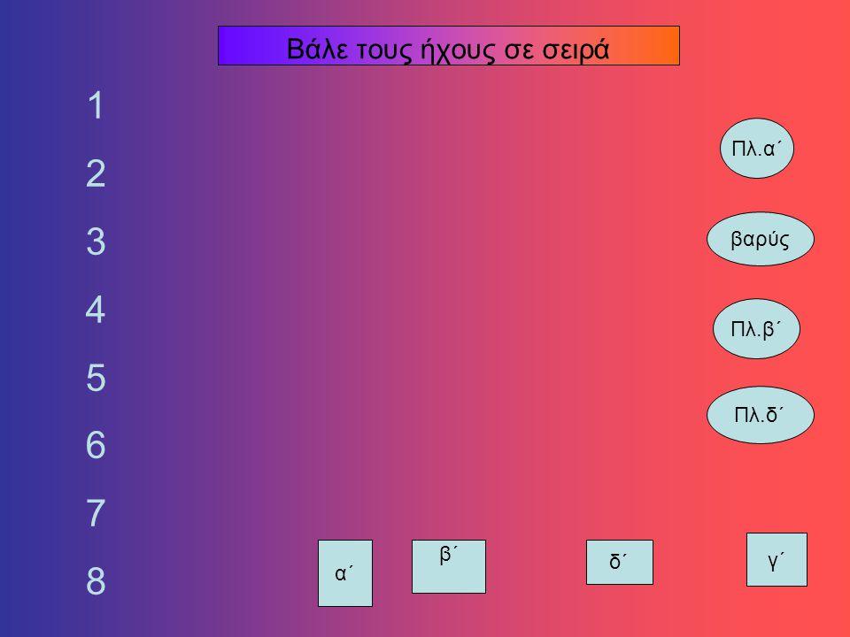 ΤΑΞΗ ΟΚΤΑΗΧΙΑΣ Ποιος ήχος είναι στη σειρά μετά τον βαρύ; τρίτος πλάγιος του α΄ πλάγιος του δ΄