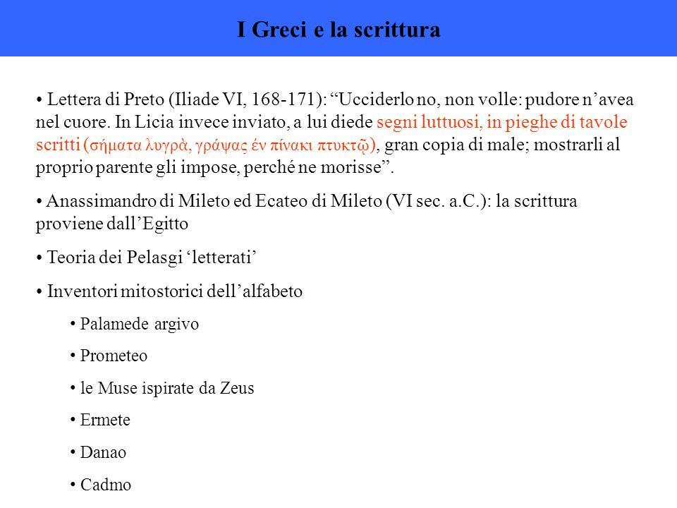 I Greci e la scrittura Lettera di Preto (Iliade VI, 168-171): Ucciderlo no, non volle: pudore n'avea nel cuore.
