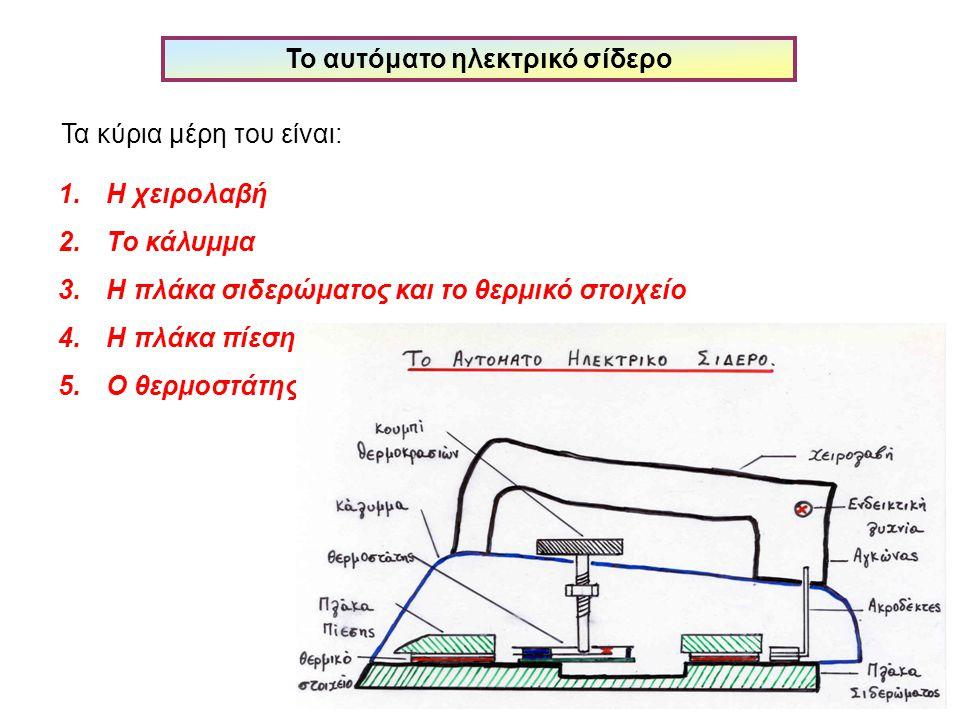 Το αυτόματο ηλεκτρικό σίδερο Τα κύρια μέρη του είναι: 1.Η χειρολαβή 2.Το κάλυμμα 3.Η πλάκα σιδερώματος και το θερμικό στοιχείο 4.Η πλάκα πίεσης 5.Ο θε
